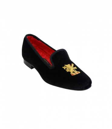 Bowhill and Elliott Black Velvet Rampant Lion Slipper