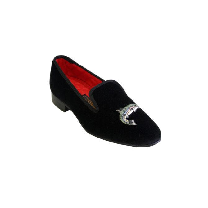 Mens Designer Slippers Black Velvet Albert
