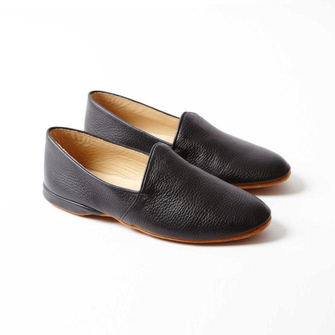 Black Deerskin Monk Slippers