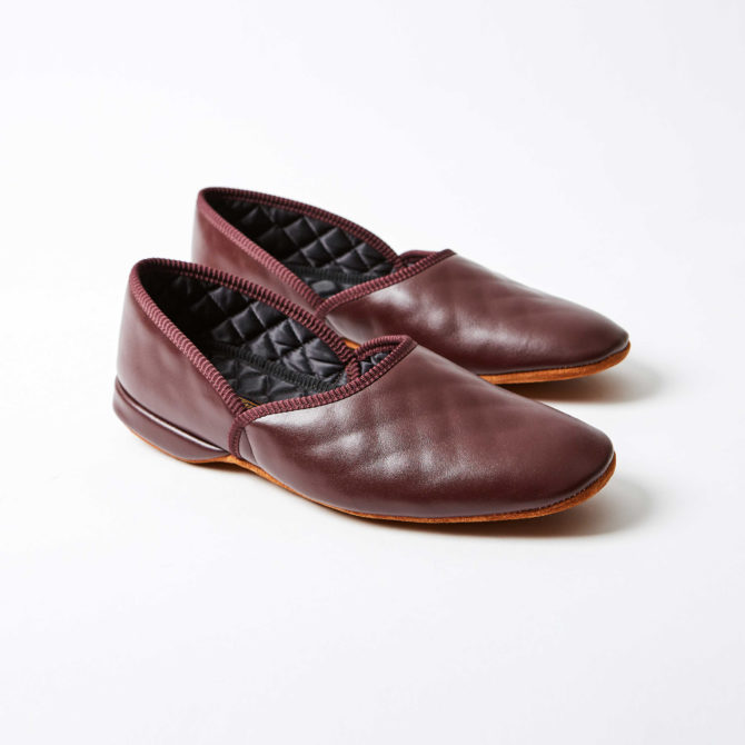 Wine Leather Grecian Slippers