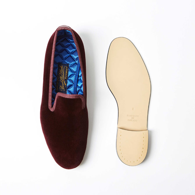 Wine Velvet Plain Albert Slippers