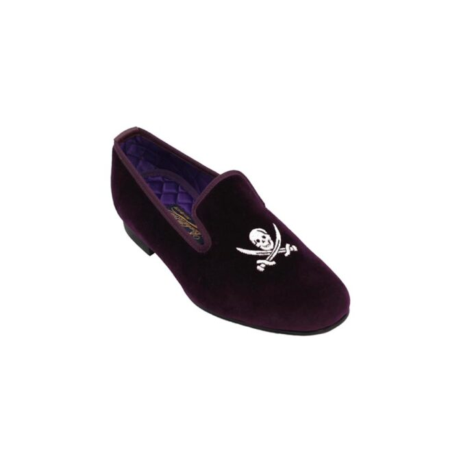Mens Skull Slippers in Velvet with Hand Embroidered Skull and Sabres