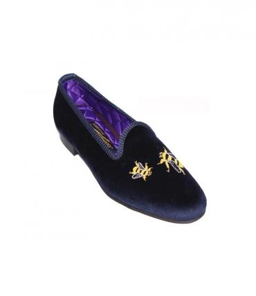 mens velvet slipper embroidered bees