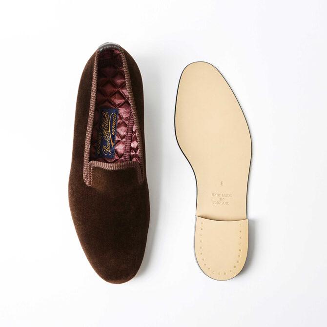 Brown Velvet Plain Albert Slippers