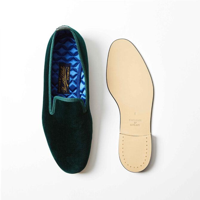 Green Velvet Plain Albert Slippers
