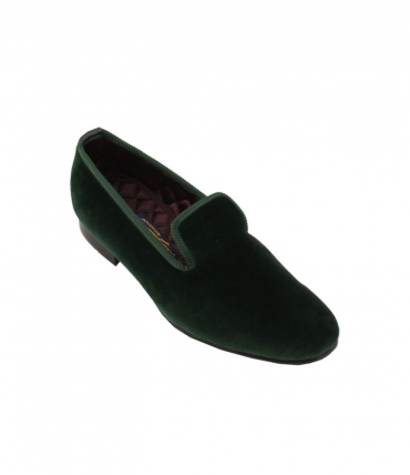 Bowhill and Elliott Green Velvet Plain Albert Slippers