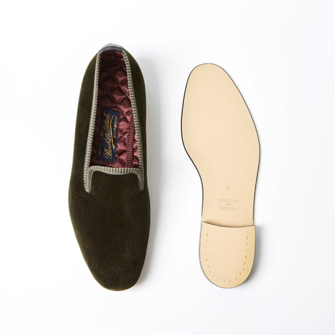 Olive Velvet Plain Albert Slippers