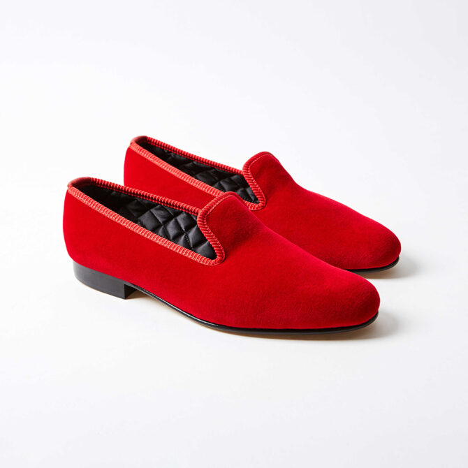 Red Velvet Plain Albert Slippers