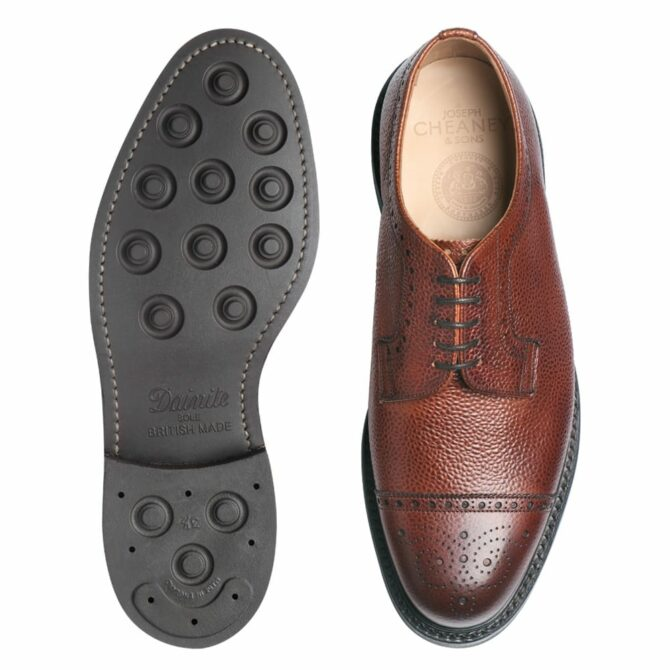 Cheaney Tenterden Capped Derby Brogue in Mahogany Grain Leather