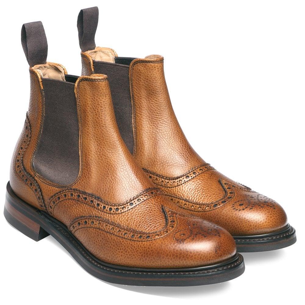 Victoria Brogue Chelsea Boot in Almond