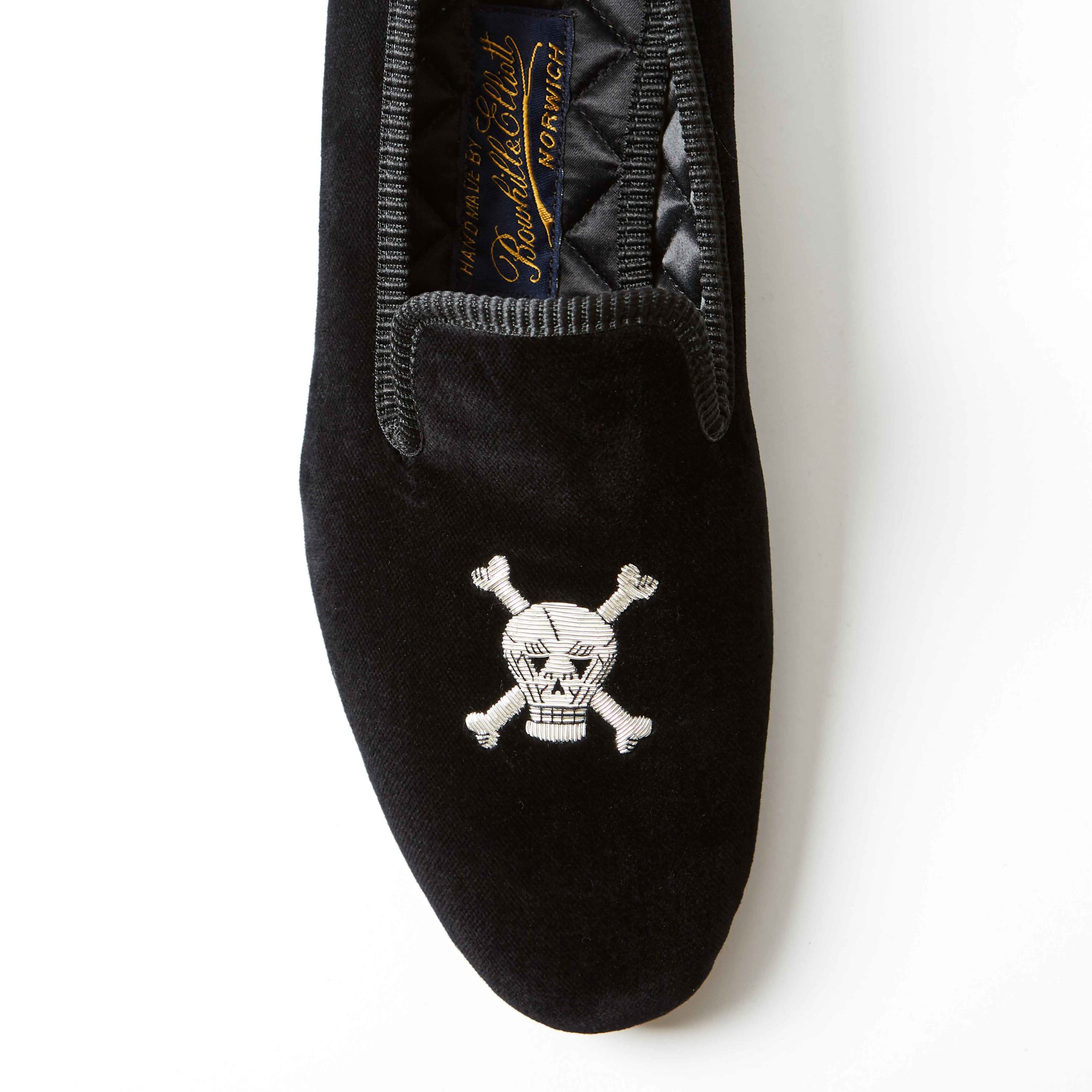 Bowhill and Elliott Black Velvet Albert Slippers with Skull and Crossbones 1