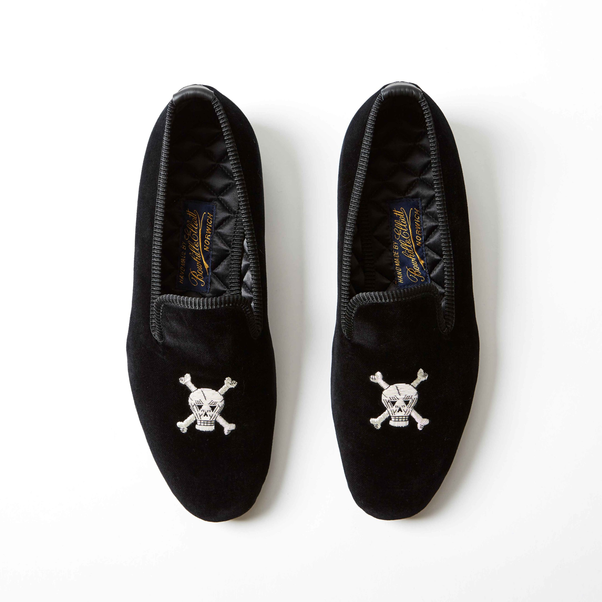 Bowhill and Elliott Black Velvet Albert Slippers with Skull and Crossbones 3