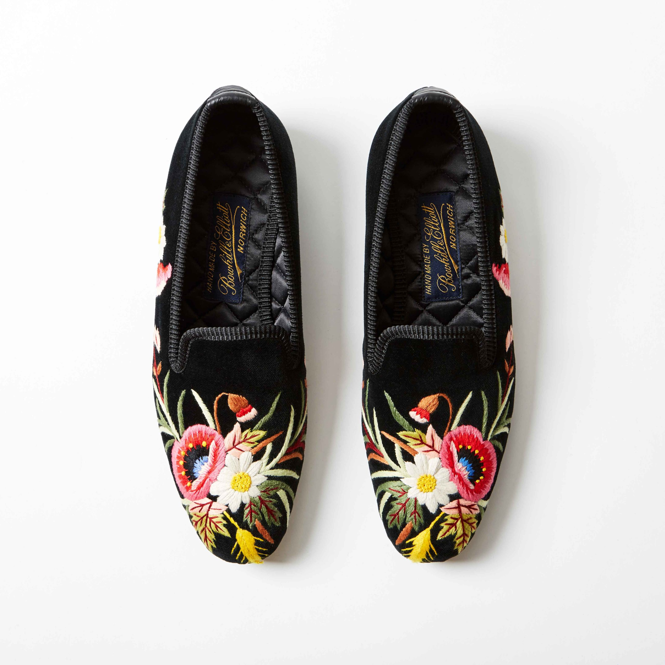Bowhill and Elliott Black Velvet Albert Slippers with Poppies 1