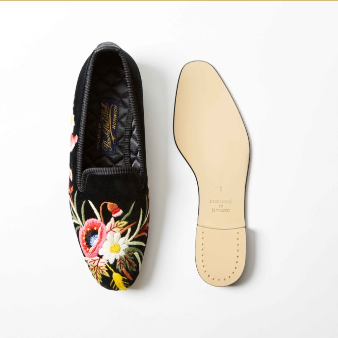Bowhill and Elliott Black Velvet Albert Slippers with Poppies 2