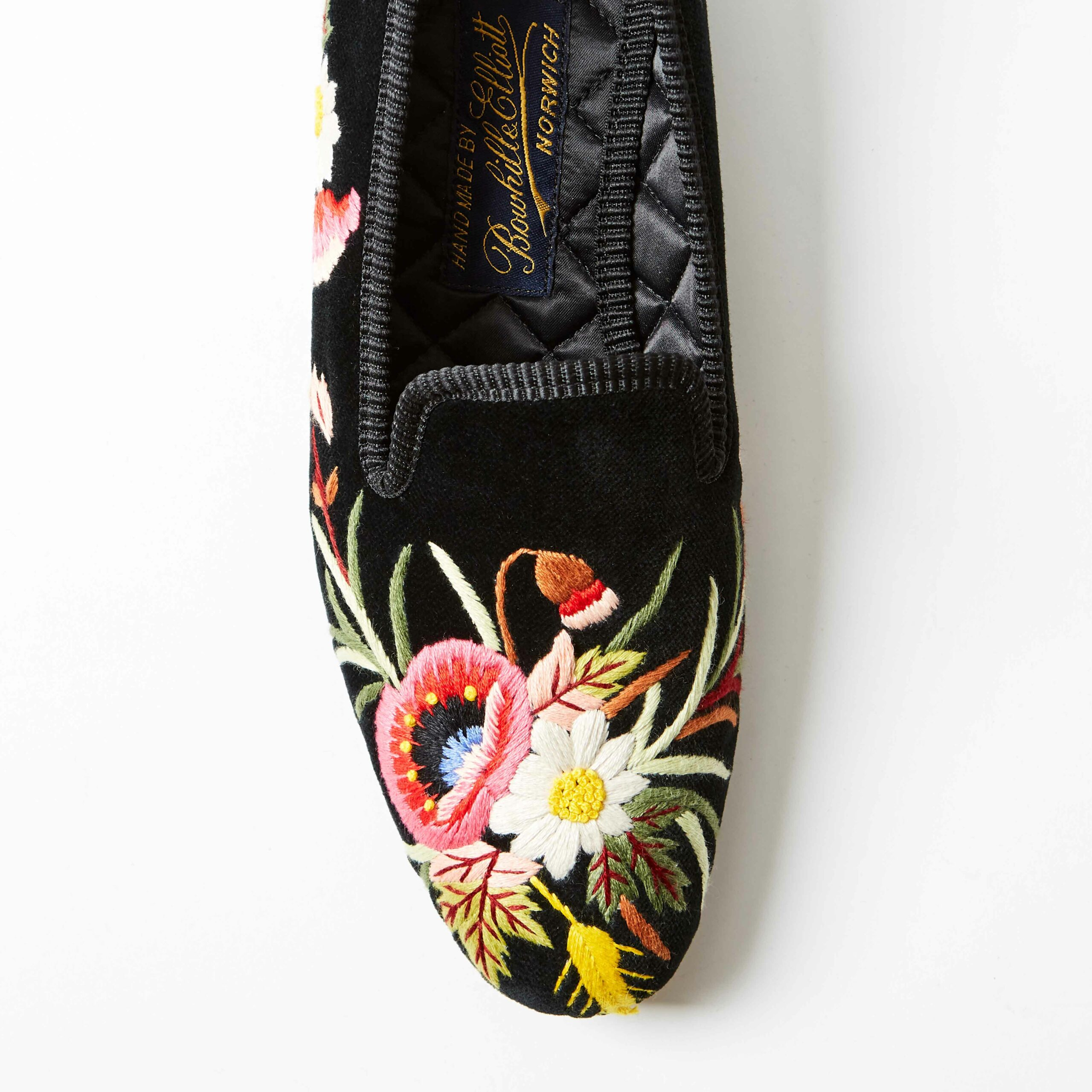 Bowhill and Elliott Black Velvet Albert Slippers with Poppies 3