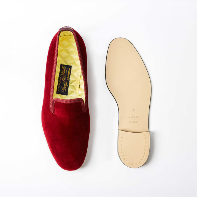 Claret Velvet Plain Albert Slippers