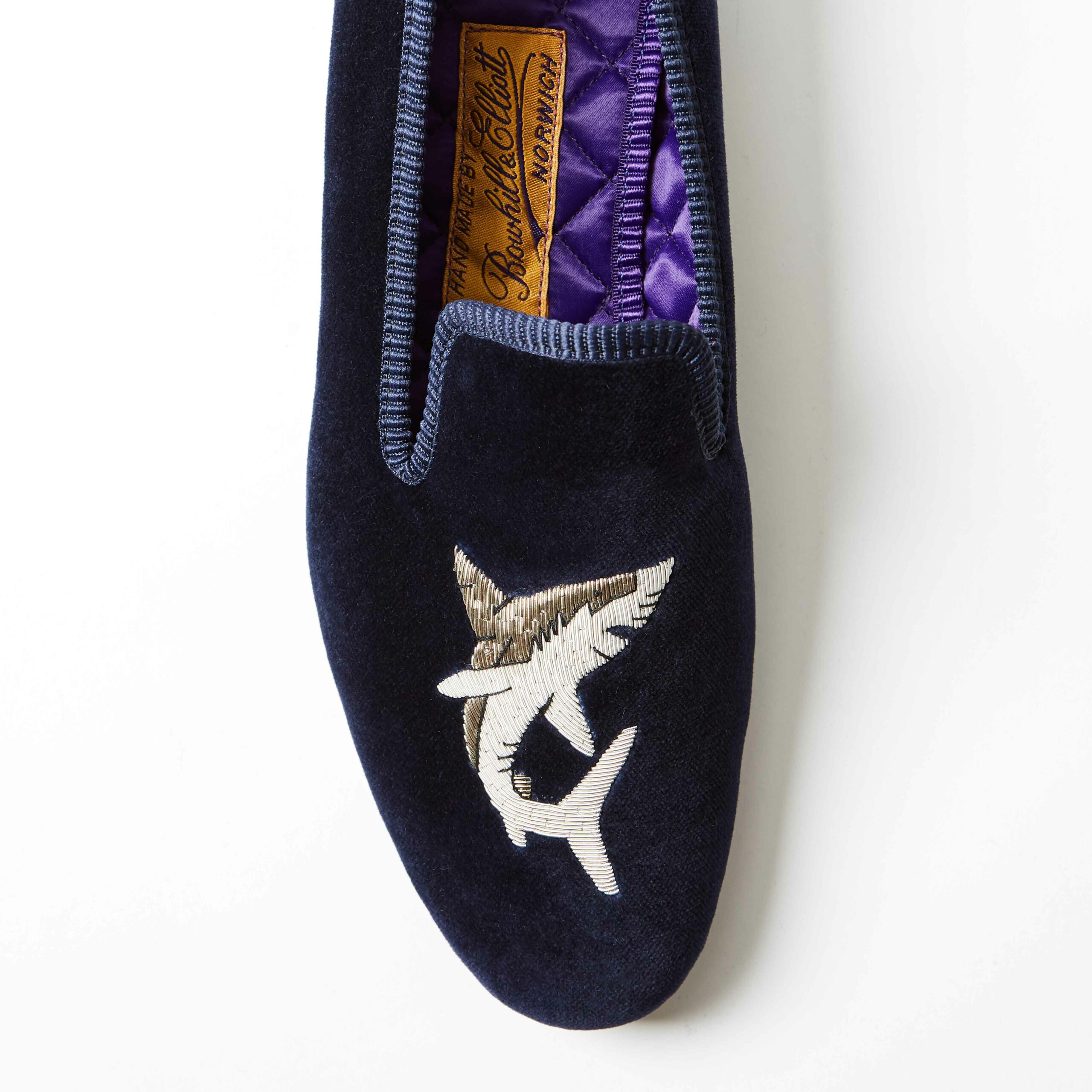 Bowhill and Elliott Navy Velvet Albert Slippers with Shark 3