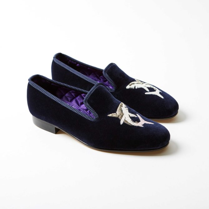 Bowhill and Elliott Navy Velvet Albert Slippers with Shark 4