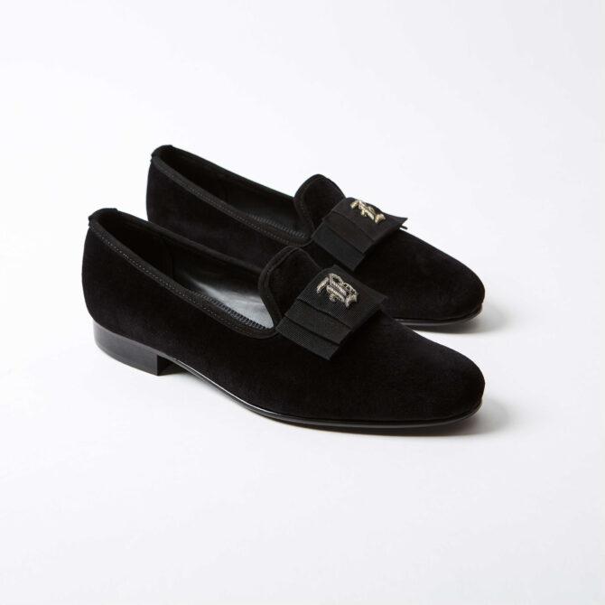 Black Velvet Albert Slippers with Monogrammed Bow