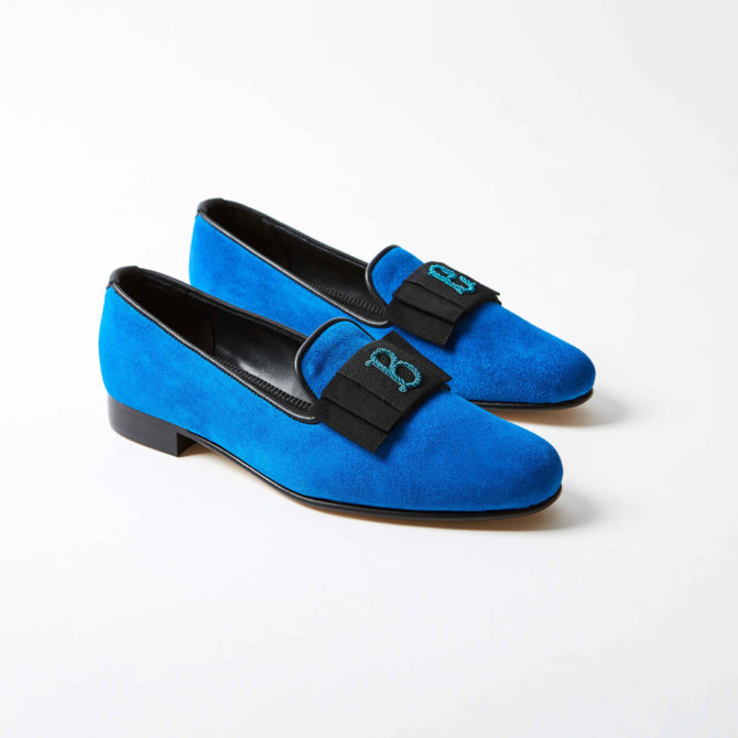 Azure Suede Albert Slippers with Monogrammed Bow