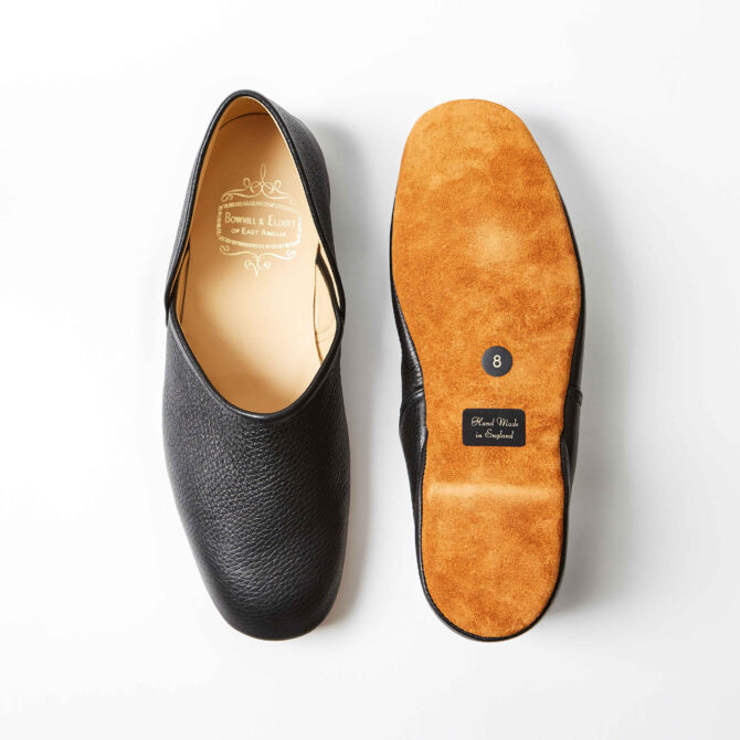 Black Deerskin Grecian Slippers