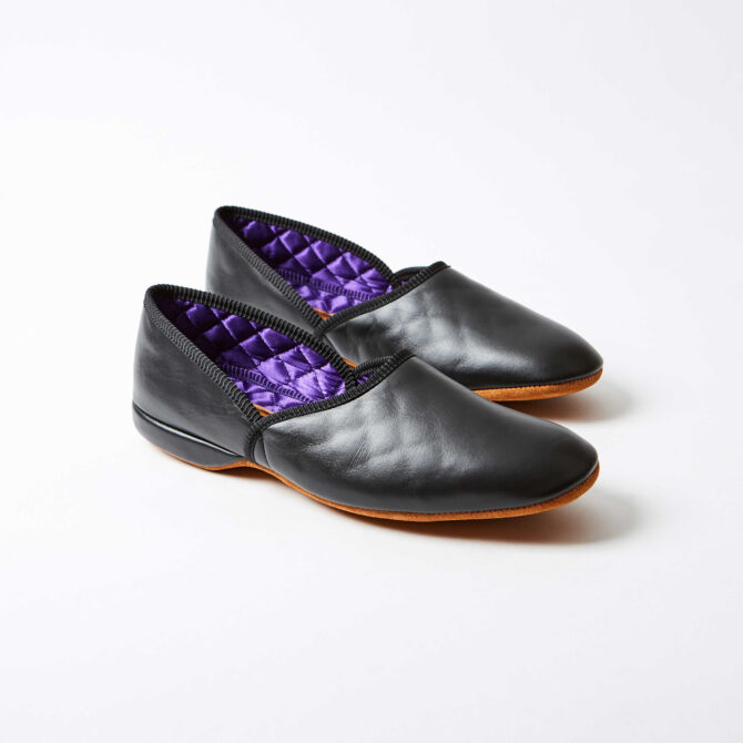 Black Leather Grecian Slippers
