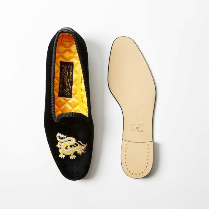 Black Velvet Venetian Slippers with Embroidered Chinese Dragon