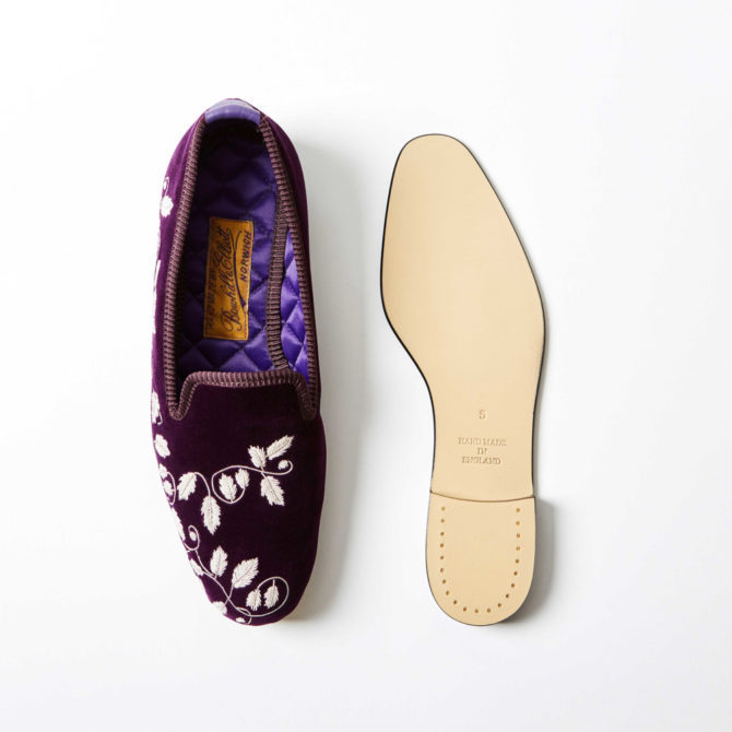 Regal Velvet Albert Slippers with Embroidered Silver Ivy