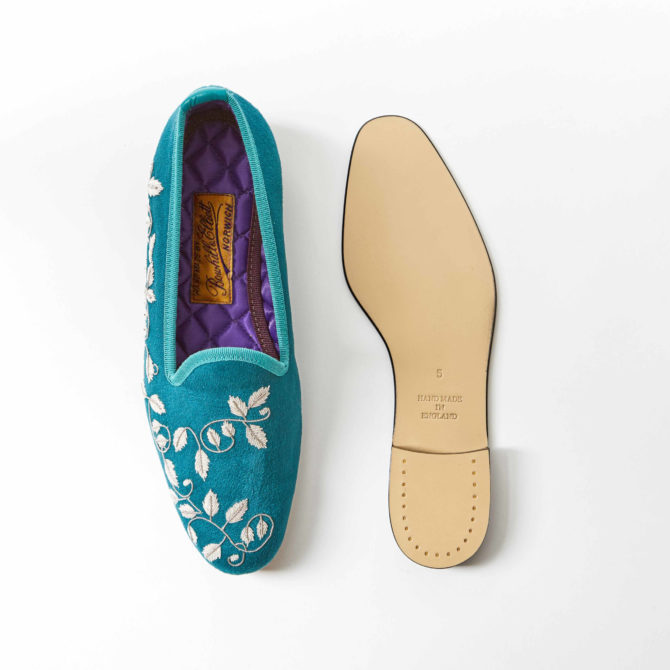 Viridian Faux Suede Venetian Slippers with Embroidered Silver Ivy