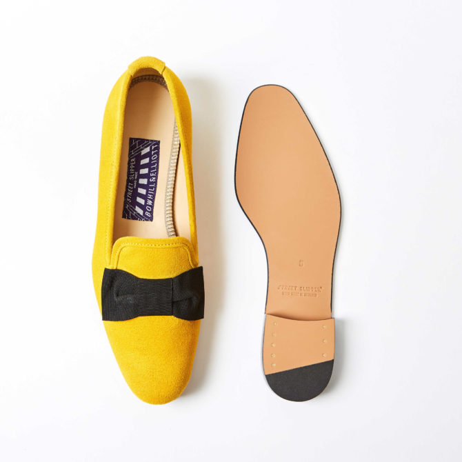 Mustard Suede Albert Slippers with Bow