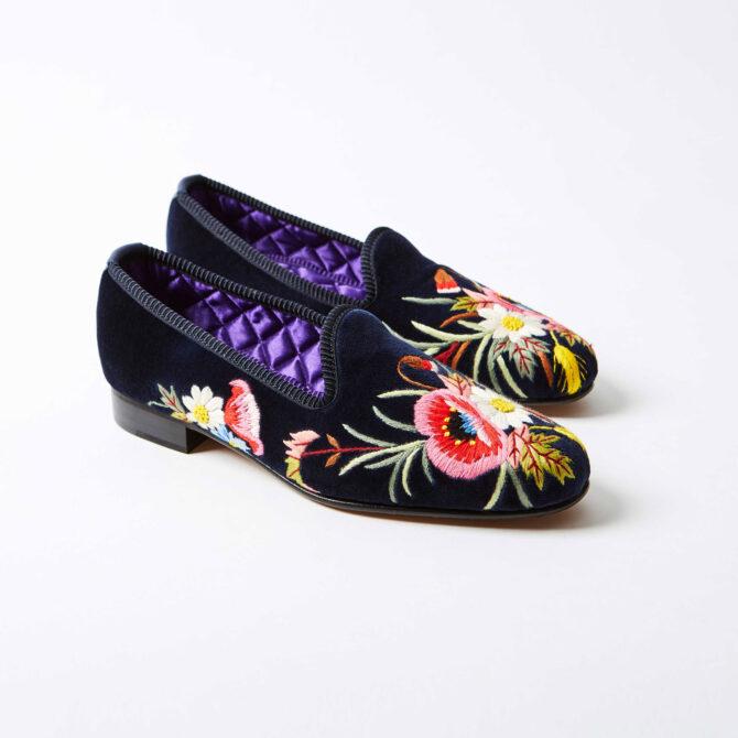Navy Velvet Venetian Slippers with Poppies