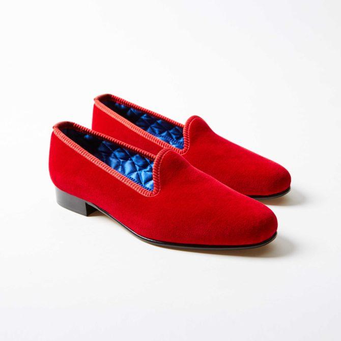 Red Velvet Plain Venetian Slippers