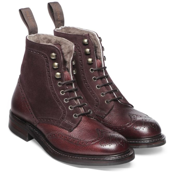 Cheaney Womens Amelia Fur Lined Brogue Boot in Burgundy Grain