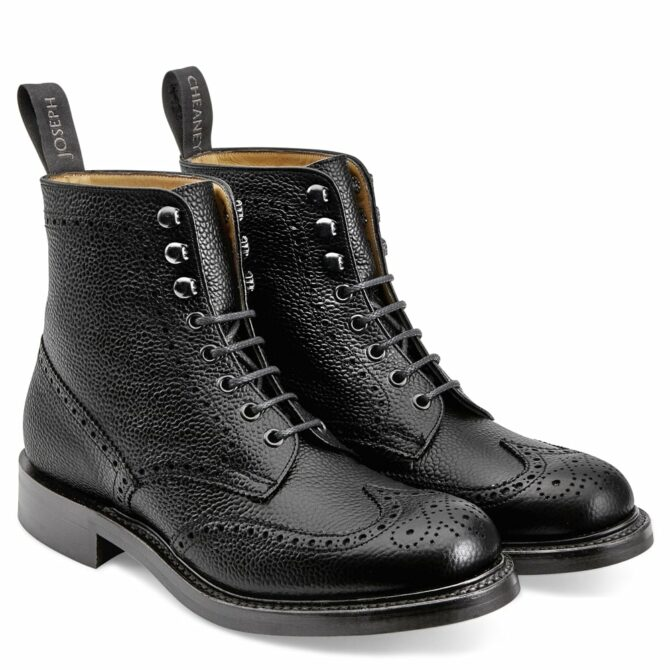 Cheaney Womens Olivia R Wingap Brogue Boot in Black Grain Leather