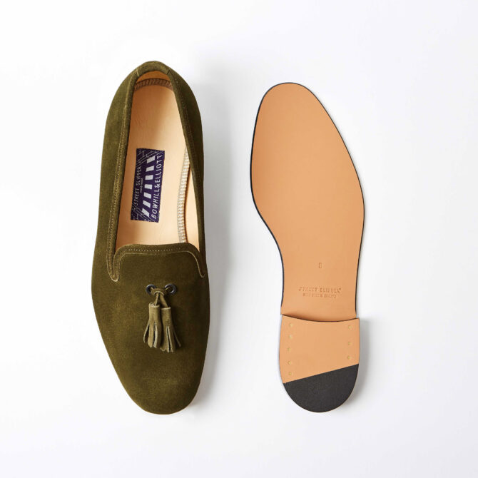Olive Suede Albert Slippers with Tassel