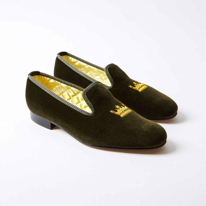 Olive Velvet Albert Slippers with Embroidered Coronet