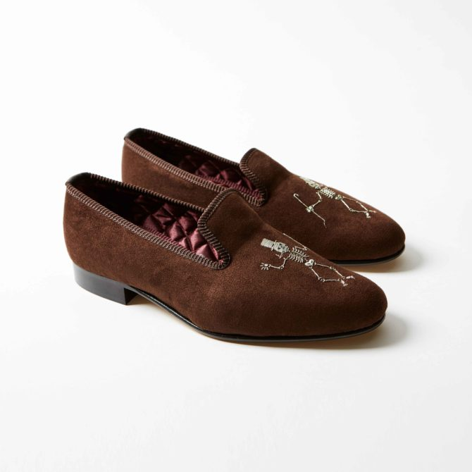 Cocoa Brown Faux Suede Albert with Cabaret Skeleton