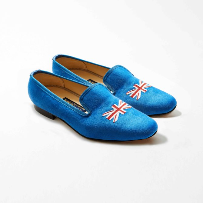 Cobalt Faux Suede Albert with Embroidered Union Jack