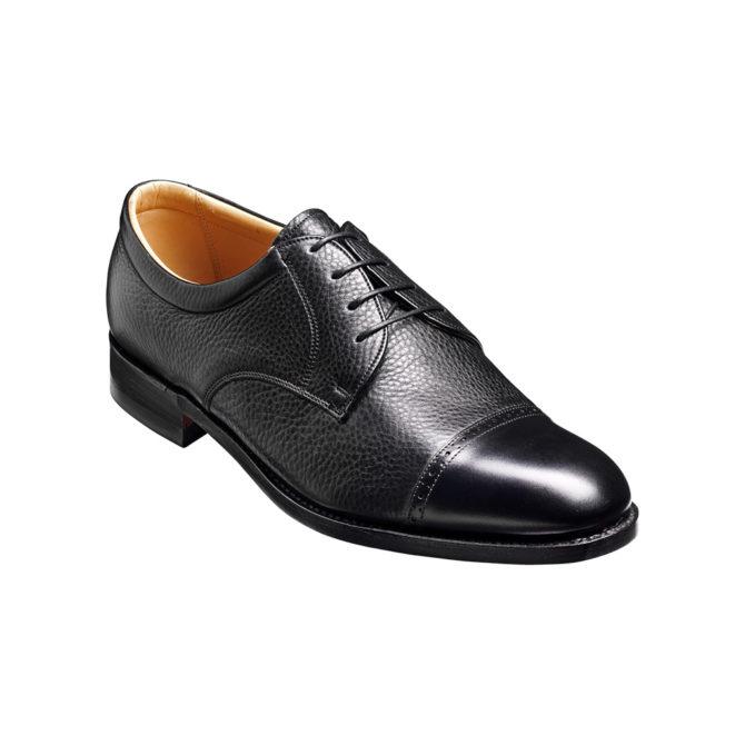 Barker Staines Black Deerskin / Calf Leather Derby
