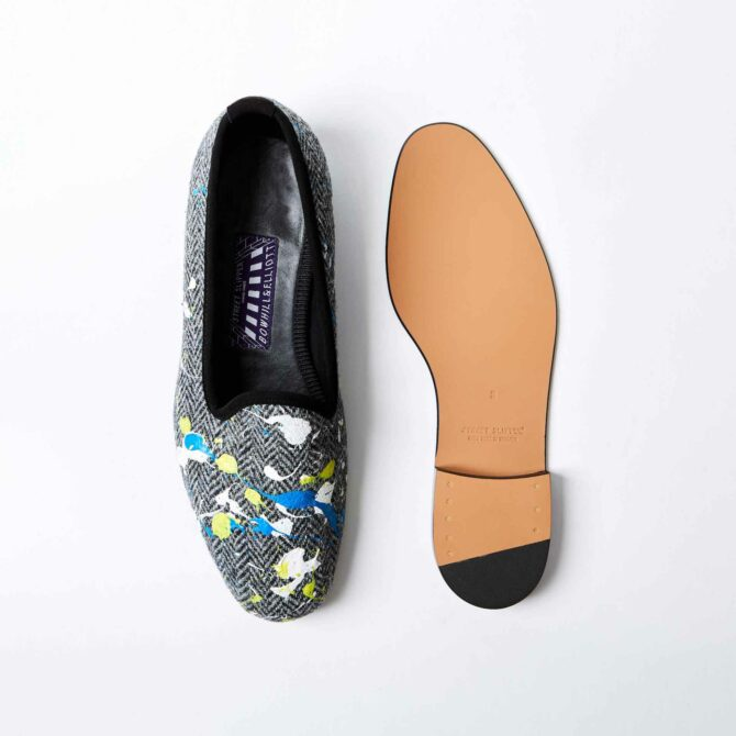 Charcoal Harris Tweed ® Venetian with Real Paint Splatter