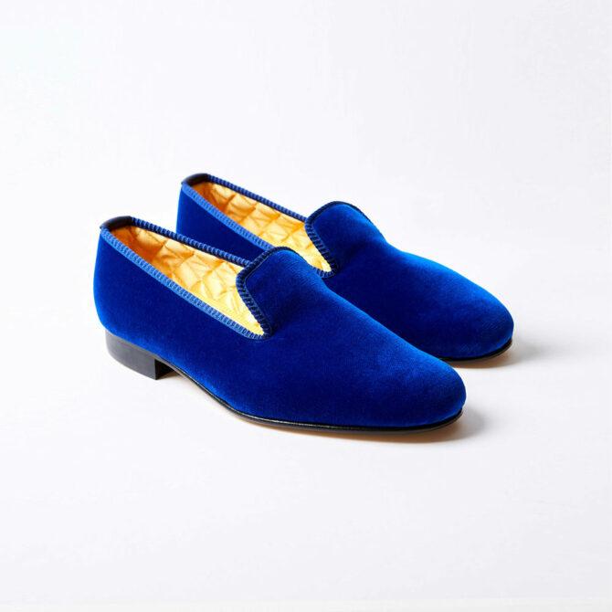 royal blue velvet albert slippers