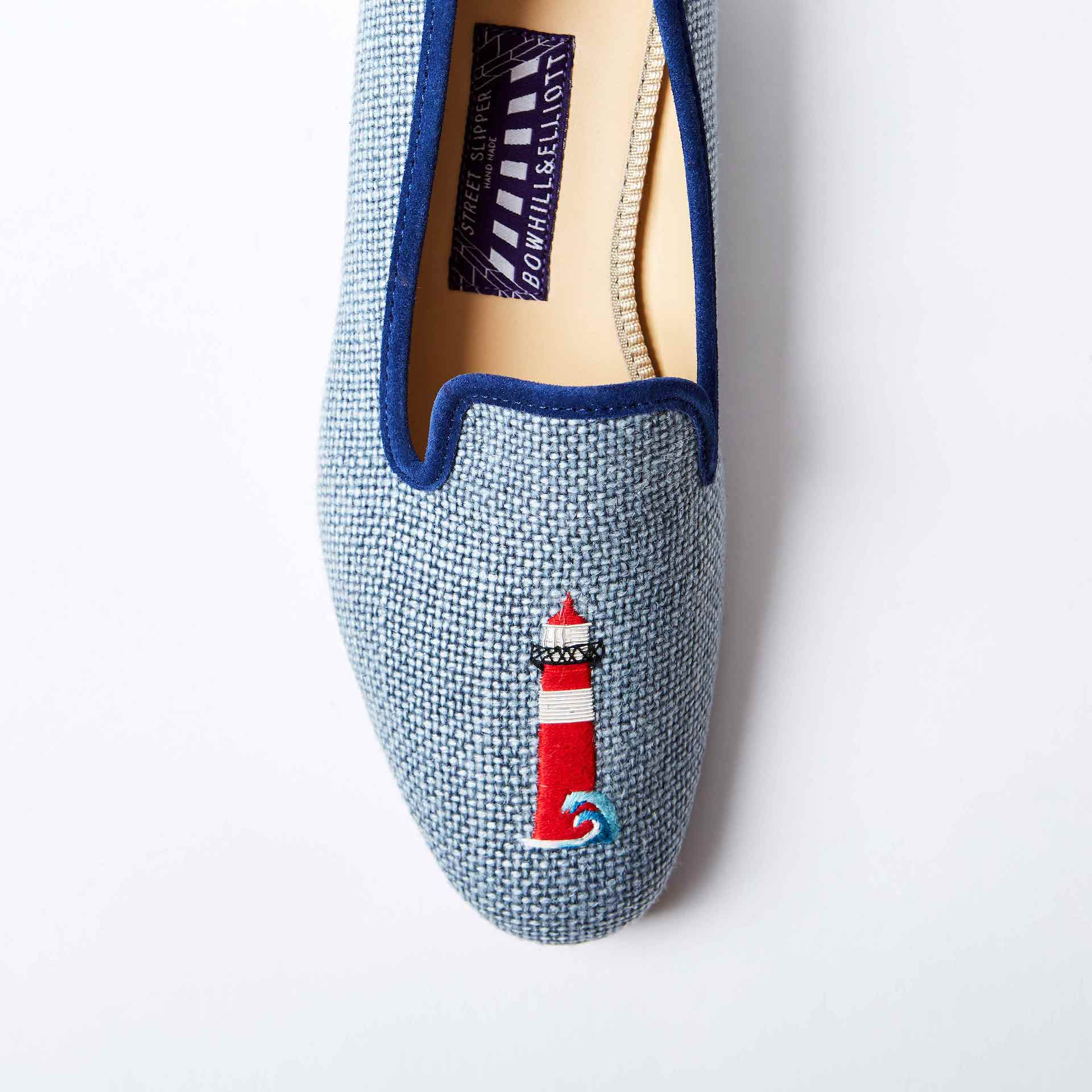 Denim Linen Albert Slippers with Embroidered Lighthouse