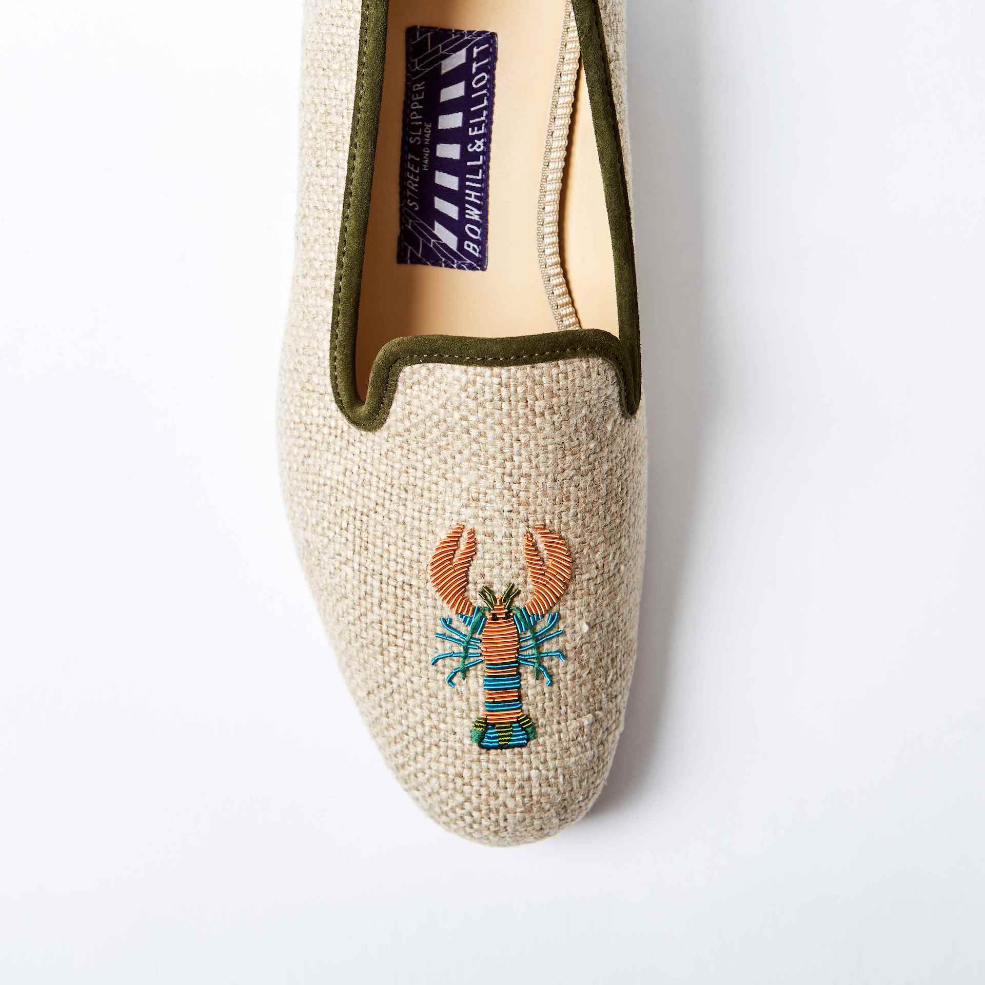 Oatmeal Linen Albert Slippers with Funky Lobster