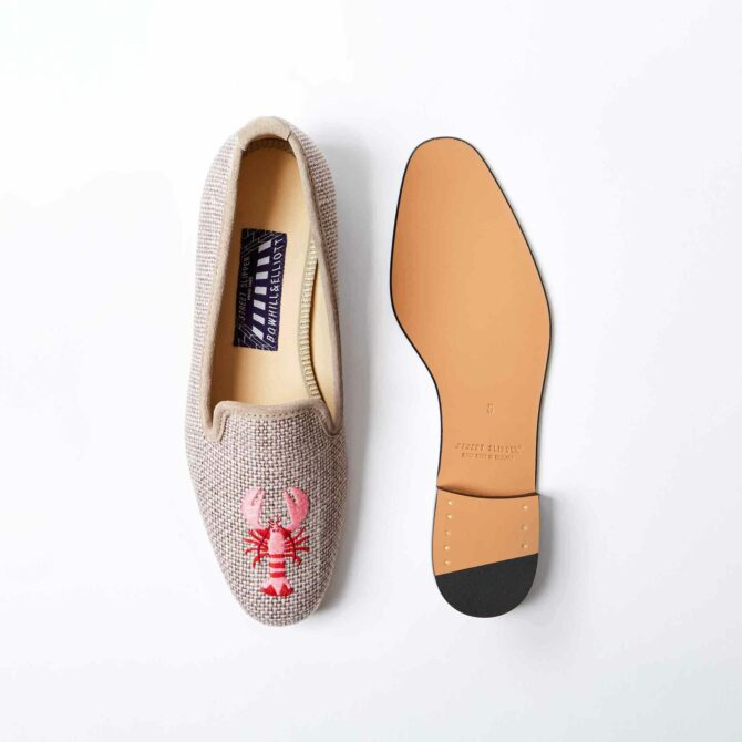 Truffle Linen Albert Slippers with Embroidered Pink Lobster 4