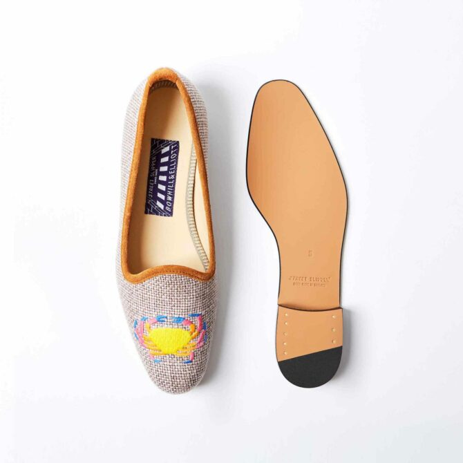 Truffle Linen Pump with Embroidered Funky Crab