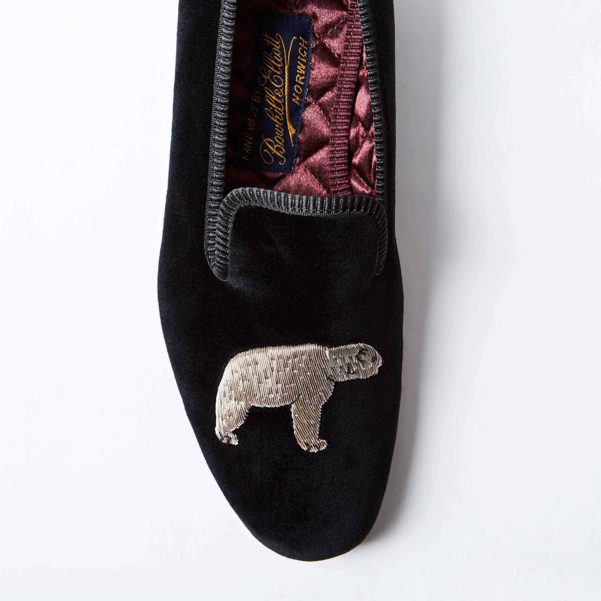 Black Velvet Albert Slippers with Bear