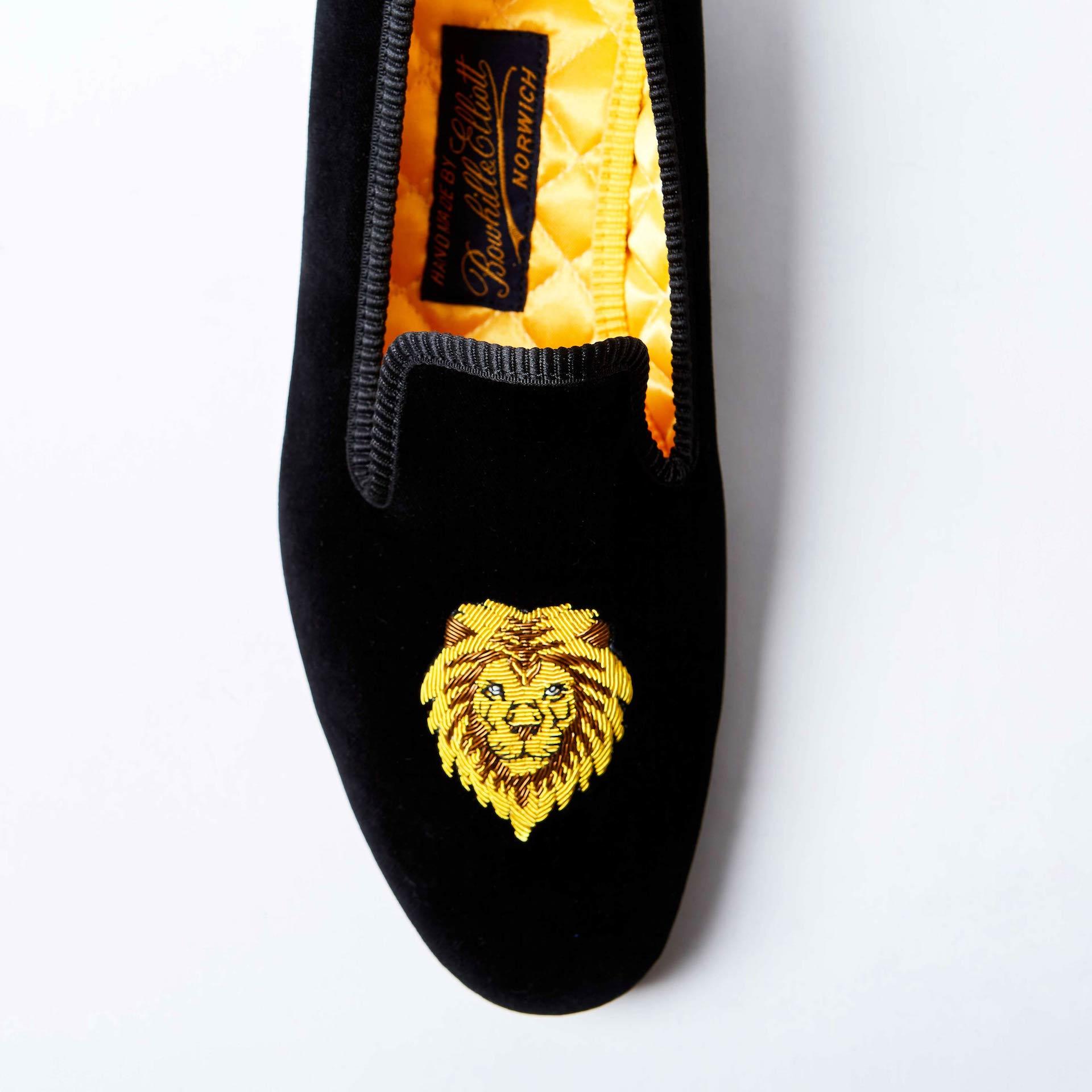 Black Velvet Albert Slippers with King Lion