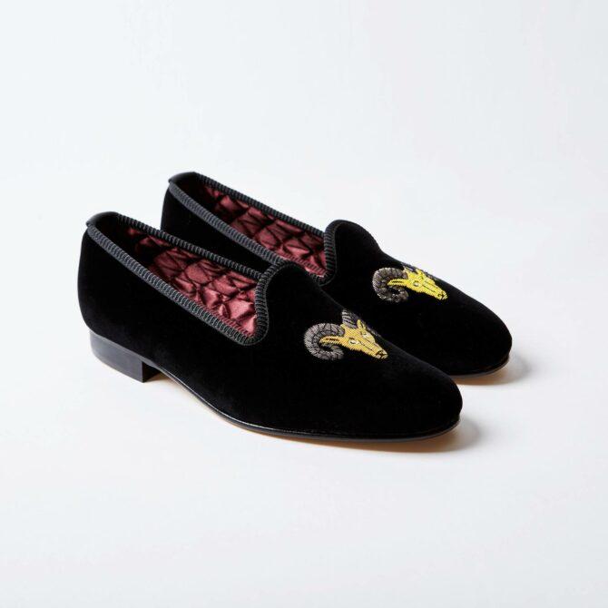 Black Velvet Venetian Slippers with Ram's Head