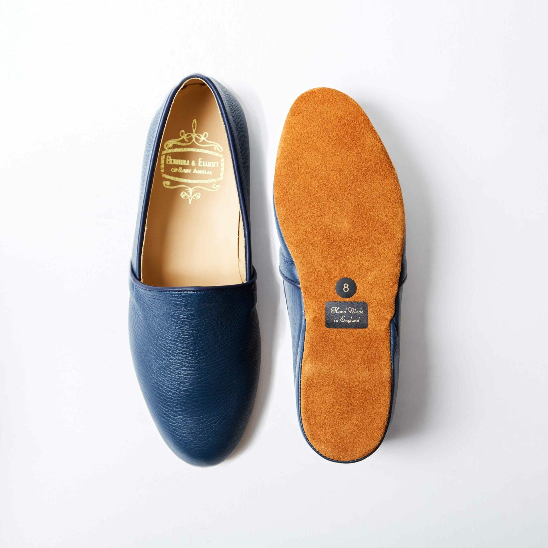 Blue Deerskin Monk Slippers