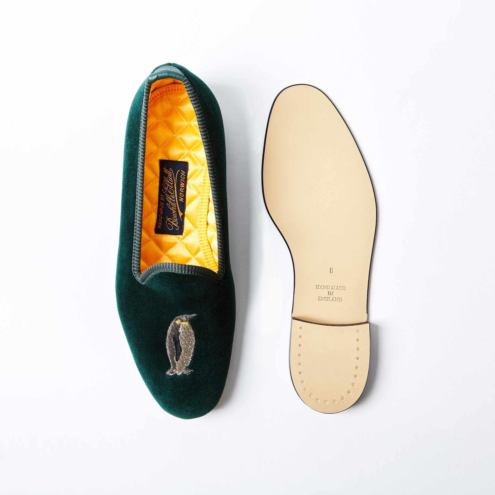 Green Velvet Venetian Slippers with Emperor Penguin